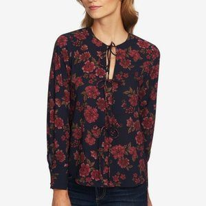 1.STATE Floral Gallant Garden Tie Accents Blouse